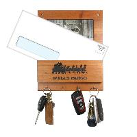 Wooden Key Rack with Mail Holder and Photo Frame (4