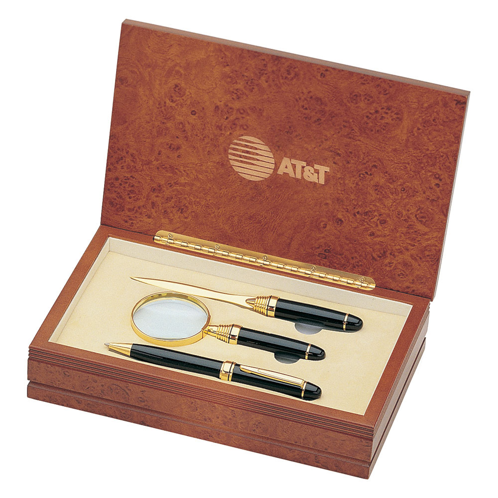 Executive Pen Magnifier And Letter Opener Set In Wood