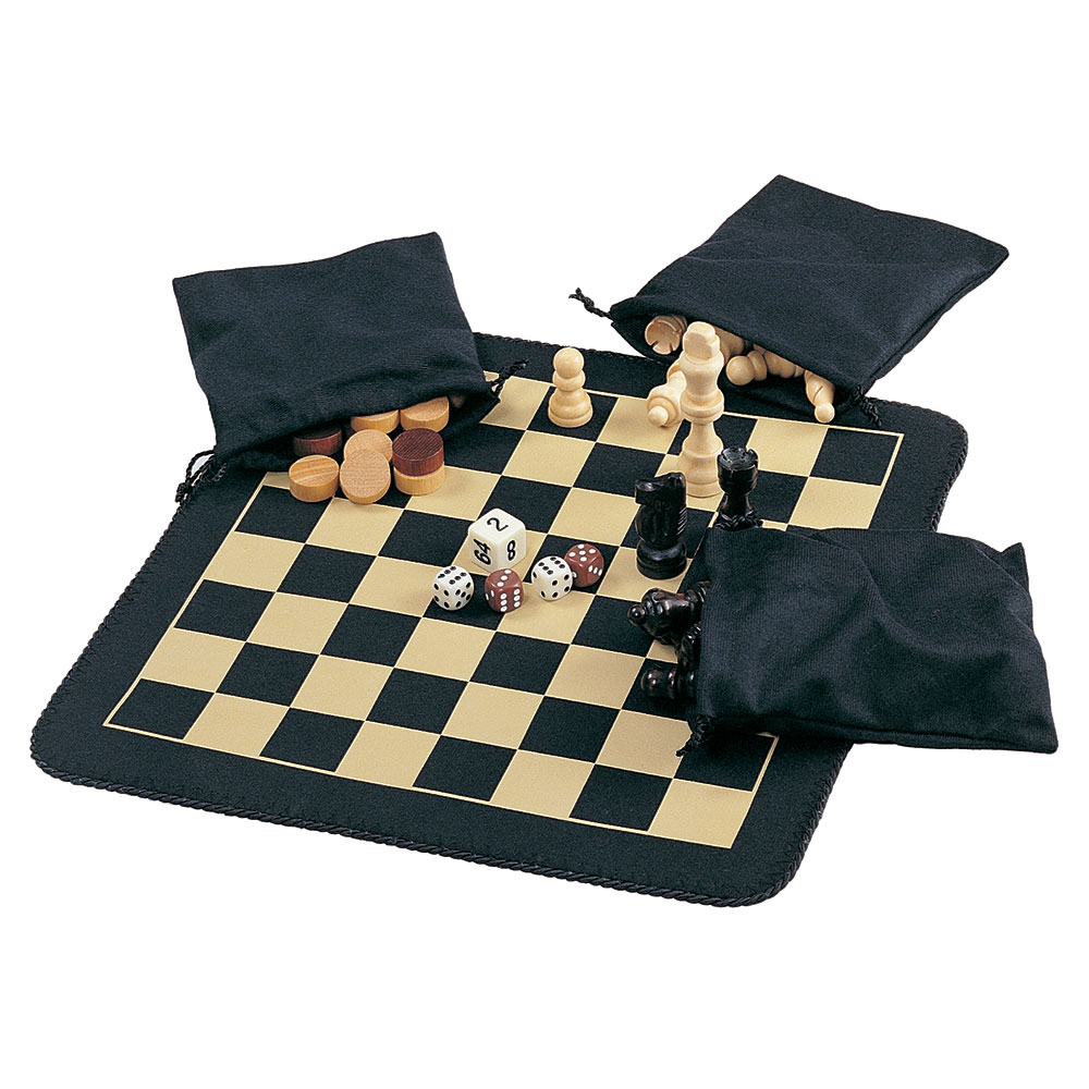 Magnetic Chess Checker And Backgammon Roll Up Board Set
